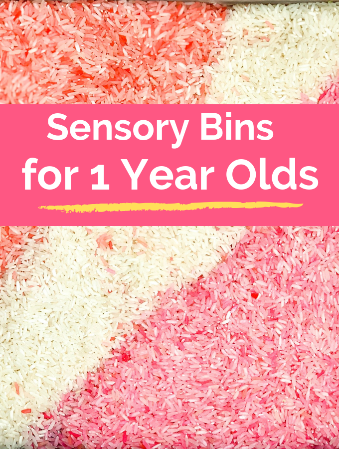 Sensory play for 1 year olds include activiites such as sensory bags, sensory bottles, sensory bins and edible sensory play.