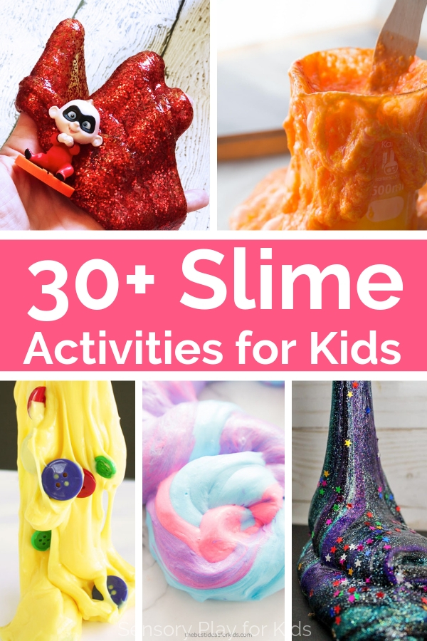 So many fun slime recipes for sensory play with kids. These slime recipes include fun play-based activities and themes that kids love. #sensoryplay #slime #spd #slimerecipes #sensoryrecipes #preschool #teachers
