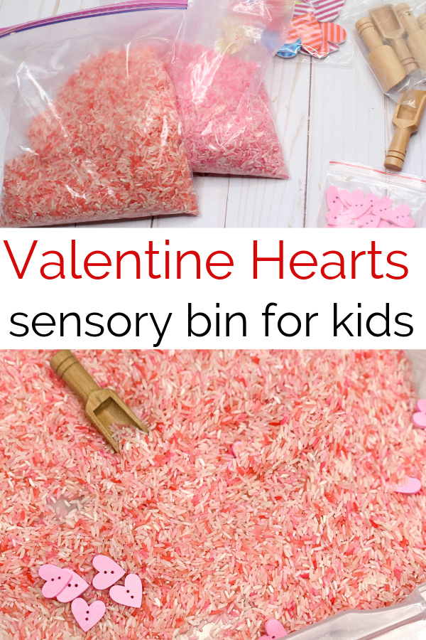 This pink and red colored rice sensroy bin adds heart and fine motor tools for a fun and educational themed sensory bin perfect for kids. #sensoryplay #redsensroybin #coloredrice #preschool