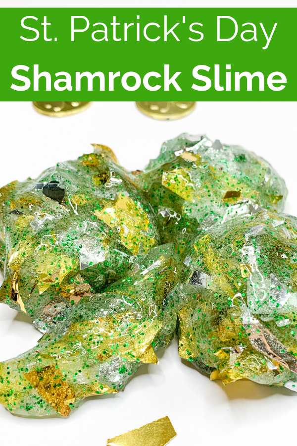 This shamrock slime uses a gold slime base with an addition of green glitter. Adjust the recipe to make the slime moldable and kids can make shamrock shapes #kidsactivties #slimerecipe #shamrockslime #sensoryplay #stpatricksday #slimeforkids