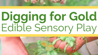 Digging for Gold Edible Sensory Play for Kids